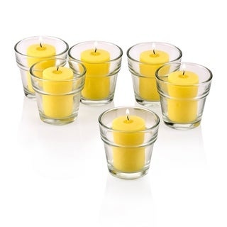 Clear Glass Flower Pot Votive Candle Holders with Citronella Yellow Votive Candles Burn 15 Hours (Set Of 36)