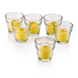 Clear Glass Flower Pot Votive Candle Holders with Citronella Yellow Votive Candles with 10-hour Burn (Set Of 36)