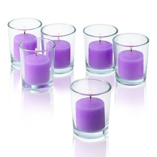 Lavender Unscented Votive Candles with Clear Glass Holders (Set of 48)