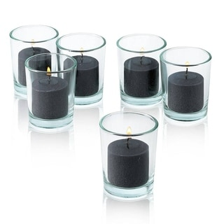 Black Unscented Votive Candle with Clear Glass Holders (Set of 48)