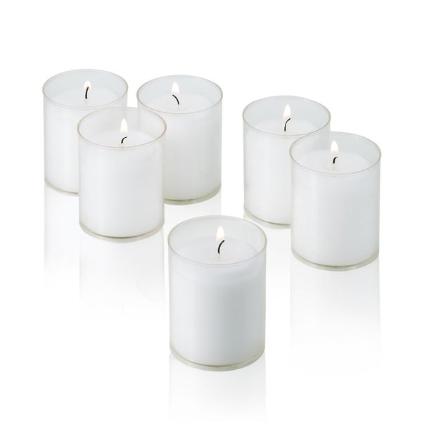 White Unscented Votive Candles in Clear Cups (Set of 24) 18147705