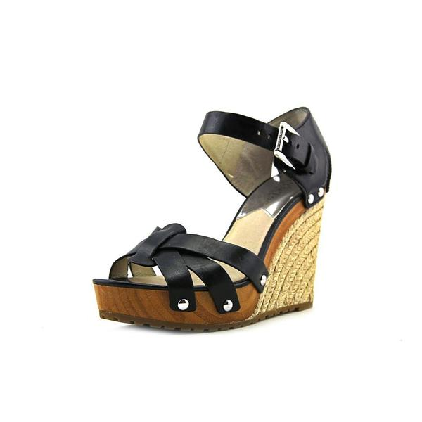 Michael Kors Women's 'Somerly Wedge' Black Leather Sandals