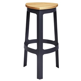Steel and Wood Curved Triangle Bar Stool