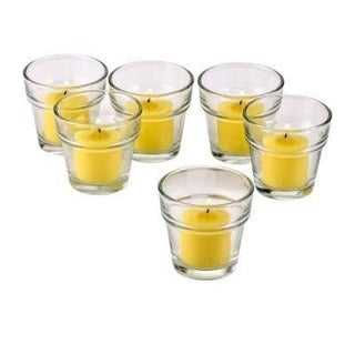 Clear Glass Flower Pot Votive Candle Holders with Yellow Votive Candles with 10-hour Burn (Set Of 72)