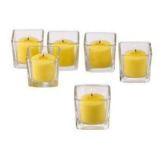 Clear Glass Square Votive Candle Holders with Yellow Votive Candles with 10-hour Burn (Set Of 72)