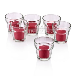 Clear Glass Flower Pot Votive Candle Holders with Red Votive Candles Burn 10 Hours (Set of 72)