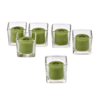 Clear Glass Square Votive Candle Holders with Lime Green Votive Candles with 10-hour Burn (Set Of 72)