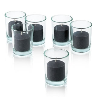 Clear Glass Round Votive Candle Holders with Black votive candles (Set of 72)