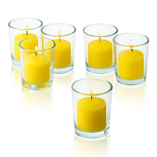 Clear Glass Round Votive Candle Holders with Yellow Votive Candles Burn 10 Hours (Set of 36)
