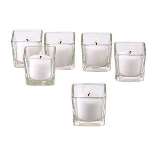 Clear Glass Square Votive Candle Holders with White Votive Candles with 10-hour Burn (Set Of 36)