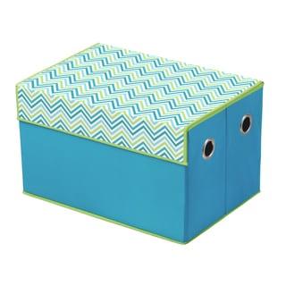 Cyan Blue/ Green Chevron Print Top Storage Box