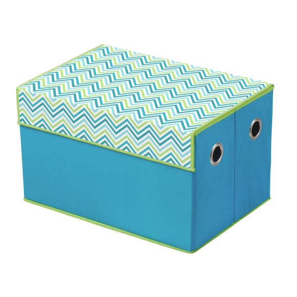 Cyan Blue/ Green Chevron Print Top Storage Box