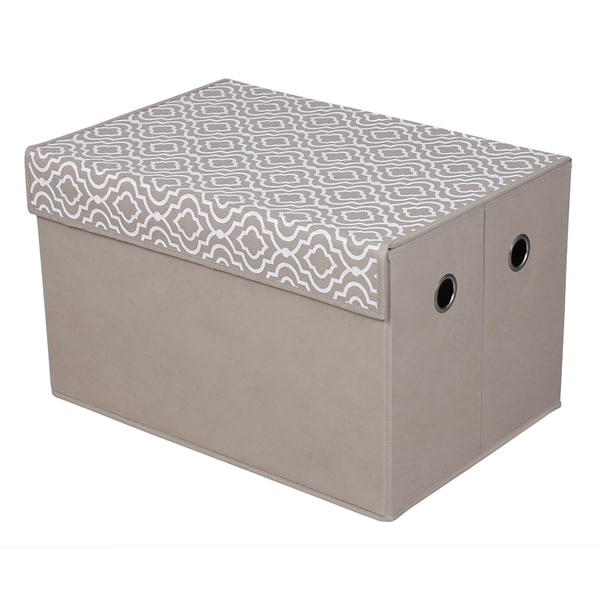 Tan Patterned Top Storage Box