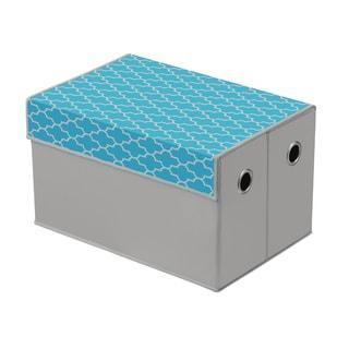 Heather Grey/ Cyan Blue Quatrefoil Top Storage Box