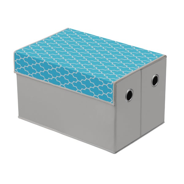 Heather Grey/ Cyan Blue Quatrefoil Top Storage Box