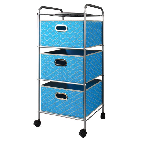 Mini Cyan Blue Quatrefoil 3-Drawer Trolley Cart