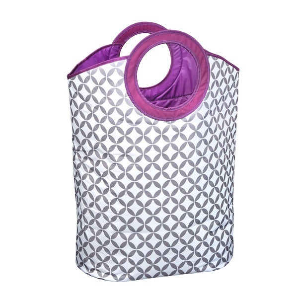 Heather Grey/ White/ Purple Print Carry Hamper