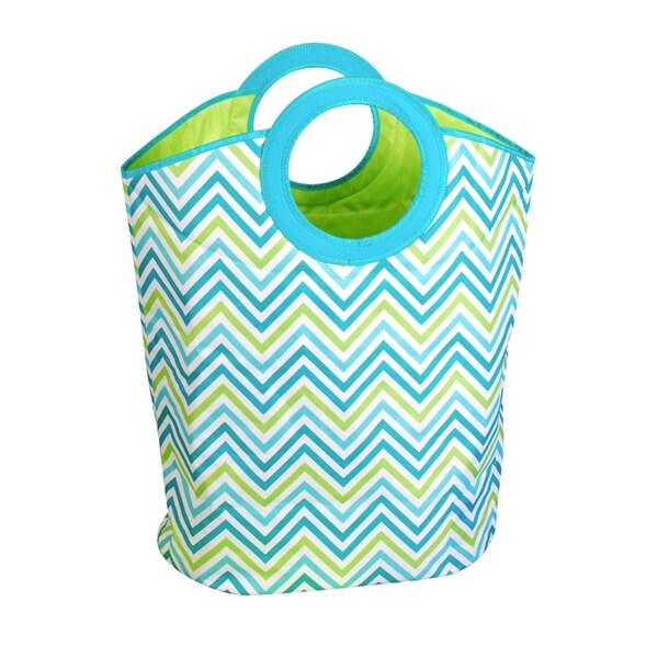 Cyan Blue/Green Chevron Print Carry Hamper