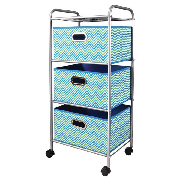 Mini Cyan Blue/Green 3-Drawer Trolley Cart 18147969