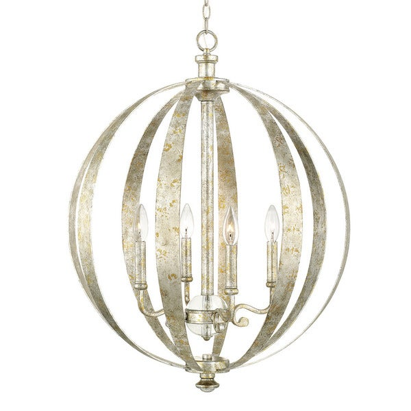Capital Lighting Charleston Collection 4 Light Silver And Gold Leaf Pendant 18611531