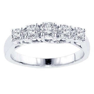 Platinum 1ct TDW Five Stone Diamond Band (G-H, SI1-SI2)