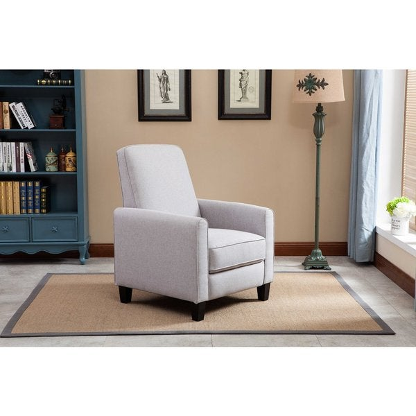 Linen Push Back Recliner in Light Grey