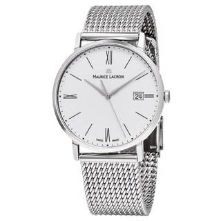 Maurice Lacroix Men's EL1087-SS002-111 'Eliros' White Dial Stainless Steel Swiss Quartz Watch