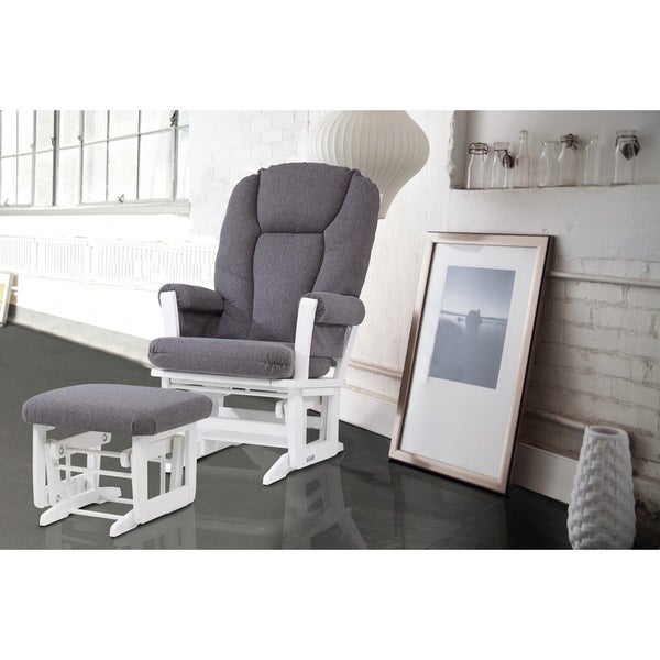 Dutailier Ultramotion Grey and White Glider Rocking Chair with Glider Ottoman