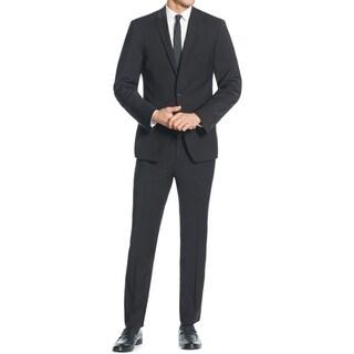 DKNY Men's Two-Piece Black Wool Slim-Fit Suit