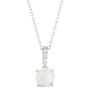 Gioelli Sterling Silver Created Opal with Created White Sapphire Accent Pendant