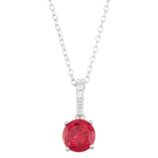 Gioelli Sterling Silver Created Ruby with Created White Sapphire Accent Pendant