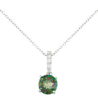 Gioelli Sterling Silver Mystic Topaz with Created White Sapphire Accent Pendant