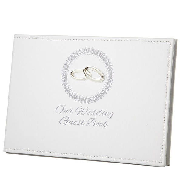 Elegance Our Wedding Guest Book with Ring Icon and Engraving Plate