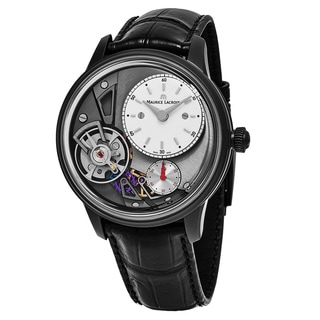 Maurice Lacroix Men's MP6118-PVB01-130 'MasterPiece Gravity' Skeleton Dial Black Leather Strap Swiss Automatic Watch