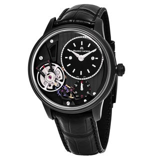 Maurice Lacroix Men's MP6118-PVB01-330 'MasterPiece Gravity' Skeleton Dial Black Leather Strap Swiss Automatic Watch