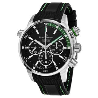 Maurice Lacroix Men's PT6018-SS001-331 'Pontos' Black Dial Black Rubber Strap Chronograph Swiss Automatic Watch