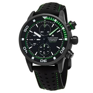 Maurice Lacroix Men's PT6028-ALB01-332 'Pontos Extreme' Black Dial Black Leather Strap Chrono Swiss Automatic Watch