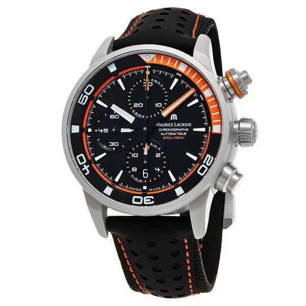Maurice Lacroix Men's PT6028-ALB31-331 'Pontos Extreme' Black Dial Black Leather Strap Chrono Swiss 18149887