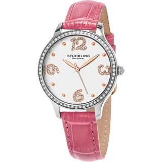 Stuhrling Original Women's Chic Quartz Crystal Pink Leather Strap Watch