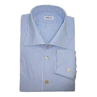 Kiton Men's Blue and White Striped Shirt