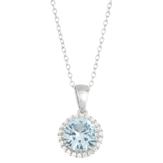 Gioelli Sterling Silver Created Aquamarine with Created White Sapphire Halo Pendant