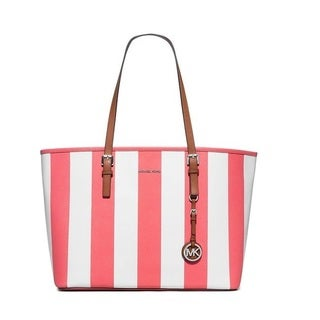 Michael Kors Jet Set Travel Coral/White Stripe Medium Travel Tote Bag