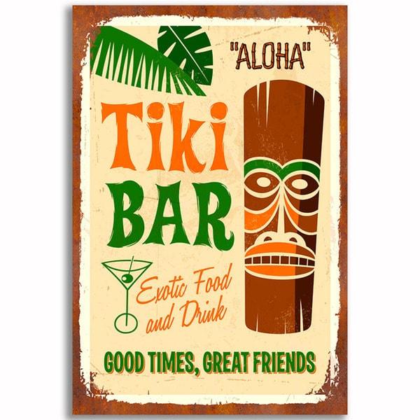 Tiki Bar Vintage 12x 18 Retro Image Printed on Metal