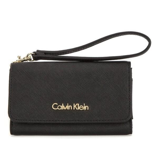 Calvin Klein Saffiano Leather Black Cellphone Case