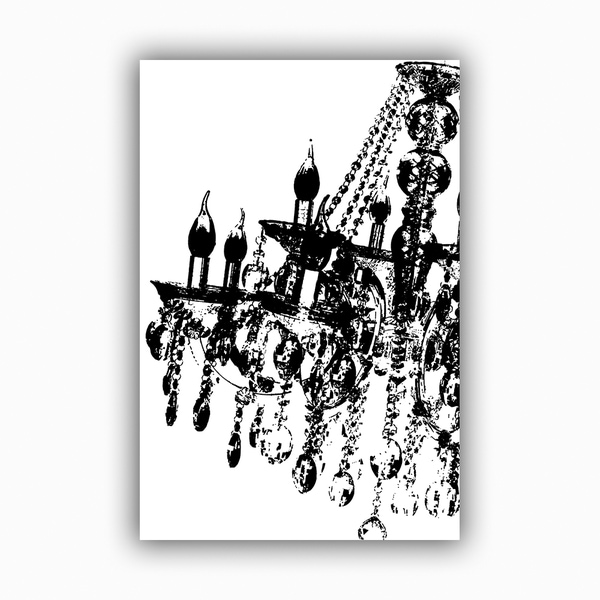 Simply Black Chandelier Printed on Framed Ready to Hang Canvas