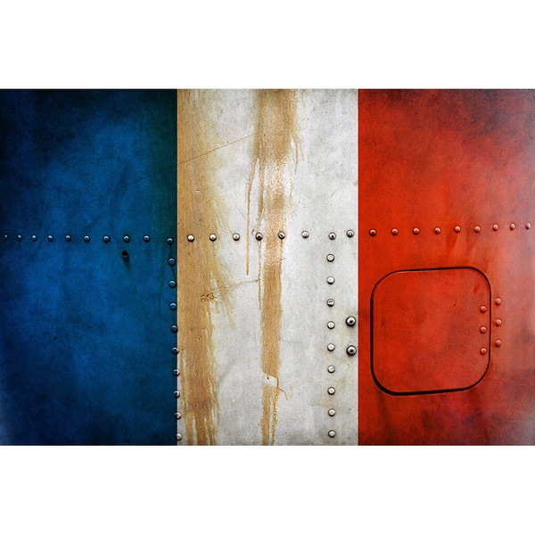 France 18x 12 National Patriotic Flag Ready to Hang Metal Print