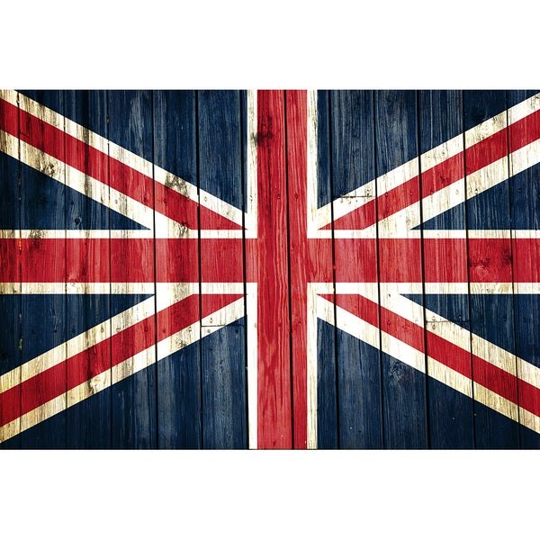 England 12x18 National Patriotic Flag Ready to Hang Metal Print