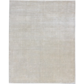 Ecarpetgallery Hand-knotted Shimmer Beige Wool and Art Silk Rug (6' x 9')