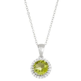 Gioelli Sterling Silver Peridot with Created White Sapphire Halo Pendant