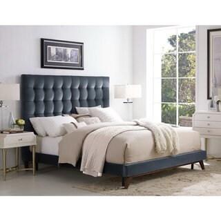 Eden Grey Velvet Tufted Platform Bed